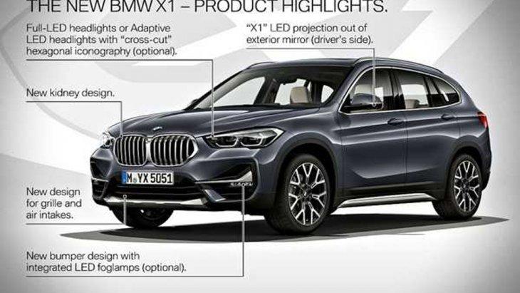 BMW X1 2019 ยังคงรักษาเอกลักษณ์เอาไว้ด้วยการติดตั้งกระจังหน้าทรงไตคู่ ไฟหน้าแบบโปรเจคเตอร์ LED พร้อมไฟตัดหมอกด้านหน้าและไฟส่องสว่างสำหรับการขับขี่กลางวันแบบ DRL