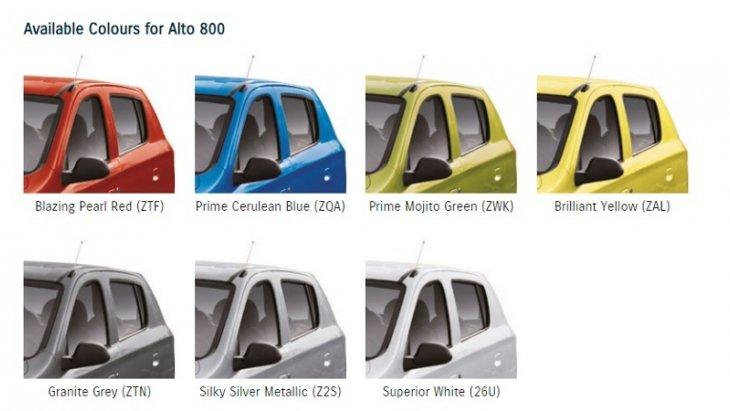 SUZUKI ALTO 800 มีสีตัวถังให้เลือกมากถึง 7 สี
