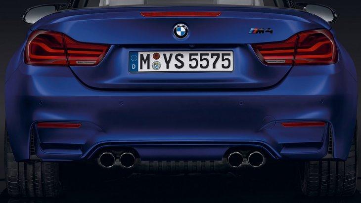 ไฟท้าย BMW M4 Convertible เป็นแบบ LED ตอกย้ำความสง่างามและสไตล์สปอร์ตด้วยท่อไอเสียคู่ M และดิฟฟิวเซอร์ M ที่ผสมผสานได้อย่างลงตัวและสมบูรณ์แบบ