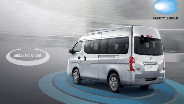 Nissan NV350 2019 ติดตั้งกระจกมองข้างแบบโครเมียมปรับและพับได้ด้วยไฟฟ้าพร้อมไฟเลี้ยวในตัว คิ้วขอบป้ายทะเบียนแบบโครเมียม ส่วนช่วงล่างได้รับการติดตั้งล้อกระทะเหล็กพร้อมฝาครอบแบบเต็มขนาด 15 นิ้ว พร้อมยางขนาด 195/80 R15