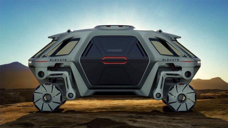 """โดย Hyundai ELEVATE Concept เป็นรถสำรวจพื้นที่กันดารที่ฮุนไดระบุประเภทว่า """"UMV"""" หรือ Ultimate Mobility Vehicle"""